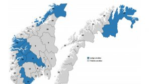 Ledige områder for lokal DAB. Grafikk: Nkom